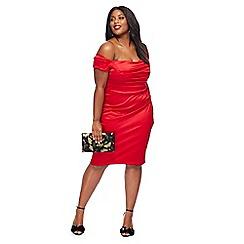 Debut - Red satin 'Origami' bardot neck midi length plus size evening dress