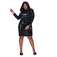 Debut - Black velvet sequinned long sleeves plus size mini length dress
