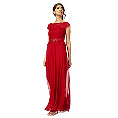 No. 1 Jenny Packham - Dark pink lace 'Selena' full length evening dress