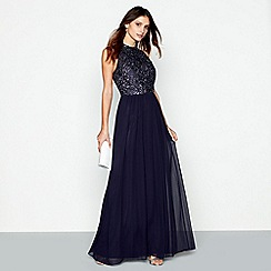 No. 1 Jenny Packham - Navy chiffon 'Mabel Rose' evening dress