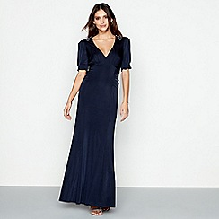 No. 1 Jenny Packham - Navy 'Alice' plunge neck maxi evening dress