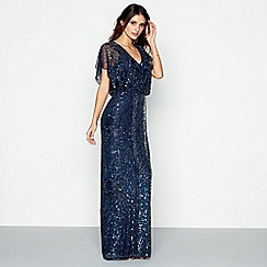 No. 1 Jenny Packham - Navy embellished 'Anthea' V-neck maxi dress