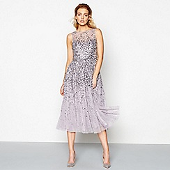 No. 1 Jenny Packham - Purple embellished midi fit and flare dress