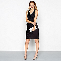 No. 1 Jenny Packham - Black ruched tulle v-neck mini dress