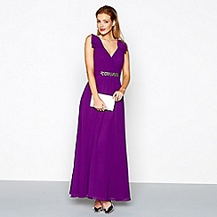 No. 1 Jenny Packham - Purple embellished chiffon v-neck evening dress
