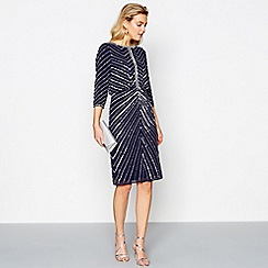 No. 1 Jenny Packham - Navy beaded knee length dress