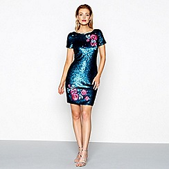 Butterfly by Matthew Williamson - Turquoise embroidered and sequin mini dress