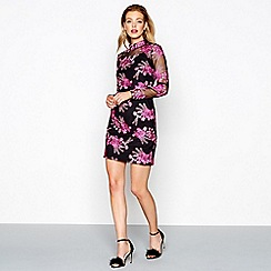 Butterfly by Matthew Williamson - Black and pink embroidered high neck long sleeve mini dress