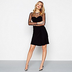 Siren by Giles - Black mesh long sleeve mini dress