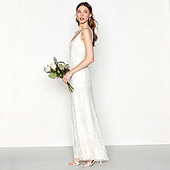 Nine by Savannah Miller - Ivory 'Bethany' beaded sleeveless full length bridal dress
