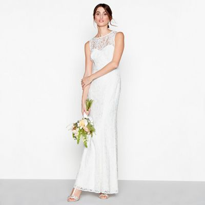 Debut   Ivory Lace 'elaine' High Neck Full Length Wedding Dress by Debut