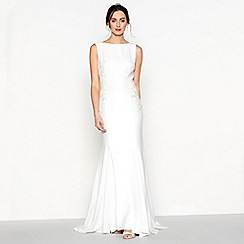 Debut - Ivory embroidered 'Diane' drape back wedding dress