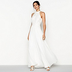 Debut - Ivory chiffon embroidered 'Eden' sleeveless wedding dress