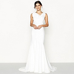 Nine by Savannah Miller - Ivory 'Leah' sleeveless cowl neck wedding dress
