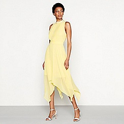 MW by Matthew Williamson - Yellow chiffon sequin 'Grace' high neck high low evening dress