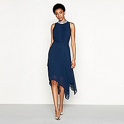 MW by Matthew Williamson - Navy chiffon sequin 'Grace' high neck high low evening dress