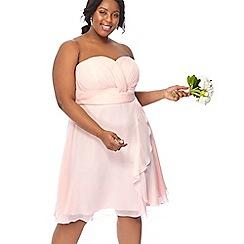 Debut - Pink chiffon 'Sara' high low plus size bridesmaid dress