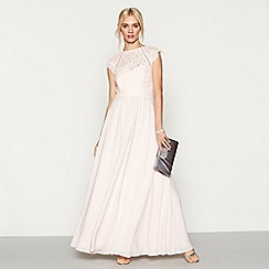 Debut - Pink chiffon lace 'Olivia' high neck plus size bridesmaid dress