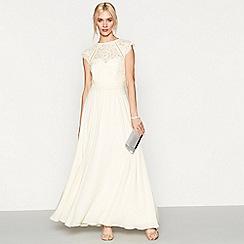 Debut - Light yellow chiffon lace 'Olivia' high neck plus size bridesmaid dress