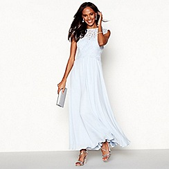 Debut - Light blue lace 'Olivia' high neck plus size maxi bridesmaid dress
