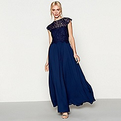 Debut - Dark blue chiffon lace 'Olivia' high neck bridesmaid dress