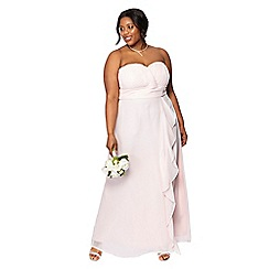 Debut - Light pink chiffon 'Sara' strapless plus size bridesmaid dress