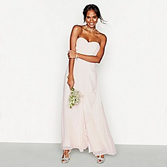 Debut - Light pink chiffon 'Sara' strapless bridesmaid dress
