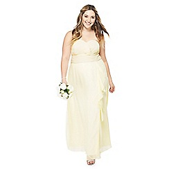 Debut - Yellow chiffon 'Sara' strapless plus size bridesmaid dress