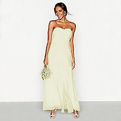 Debut - Pale yellow chiffon 'Sara' strapless plus size bridesmaid dress