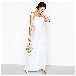 Debut - Light green chiffon 'Sara' strapless plus size bridesmaid dress