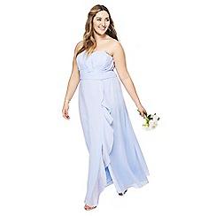 Debut - Light blue chiffon 'Sara' strapless plus size bridesmaid dress