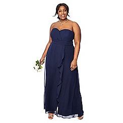 Debut - Dark blue chiffon 'Sara' strapless plus size bridesmaid dress