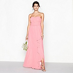 Debut - Coral chiffon 'Sara' strapless plus size bridesmaid dress