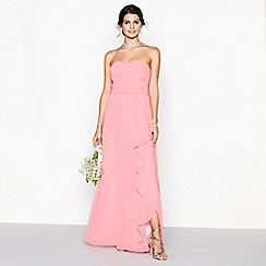 Debut - Coral chiffon 'Sara' strapless bridesmaid dress