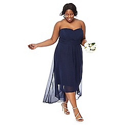 Debut - Navy chiffon 'Sara' high low plus size bridesmaid dress