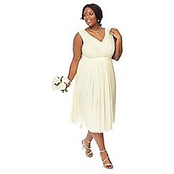 Debut - Pale yellow 'Mia' mesh plus size bridesmaid dress