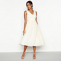 Debut - Pale yellow 'Mia' mesh bridesmaid dress