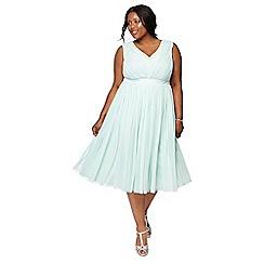 Debut - Pale green 'Mia' mesh plus size bridesmaid dress