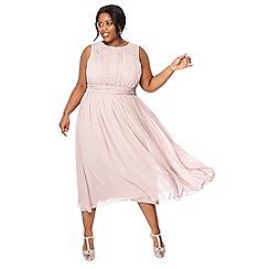 Debut - Light pink chiffon sleeveless plus size midi dress