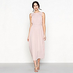 Debut - Light pink chiffon sleeveless midi dress