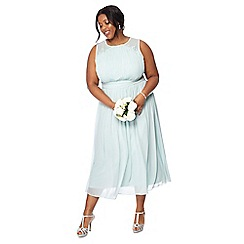 Debut - Pale green chiffon sleeveless plus size maxi dress