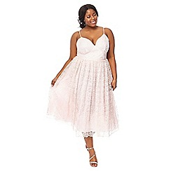 Debut - Pale pink embroidered plus size 'Madeline' dress