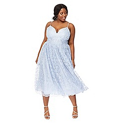 Debut - Light blue 'Madeline' embroidered v-neck plus size midi dress