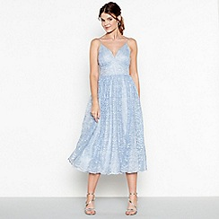 Debut - Light blue 'Madeline' embroidered v-neck midi dress
