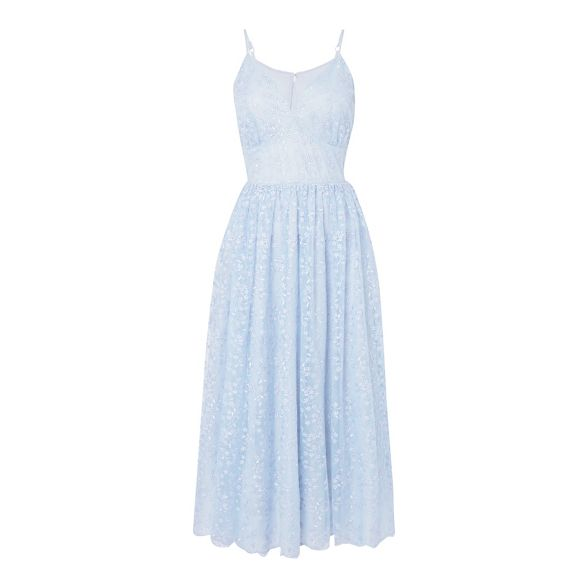 Debut v midi 'Madeline' blue neck Light embroidered dress qxTqrC