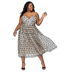Debut - Natural 'Madeline' mesh embroidered plus size prom dress