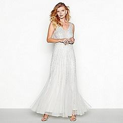 Debut - Silver beaded 'Willow' V-neck full length evening dress