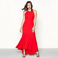 Debut - Red 'Kylie' high neck high low prom dress