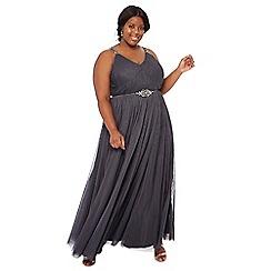 Debut - Dark grey bead embellished 'Kimberley' V-neck full length plus size evening dress