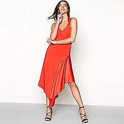 Debut - Red satin insert 'Kendall' V-neck midi prom dress